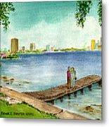 Tampa Fl Little Pier At Ballast Point Metal Print