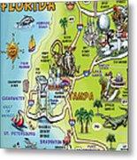 Tampa Florida Cartoon Map Metal Print