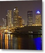 Tampa Nighttime Skyline Metal Print