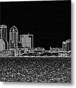 Tampa Panorama Digital - Black And White Metal Print