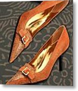 Tan Ostrich With Golden Buckles Metal Print