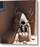 Taos Horno And Antlers Metal Print