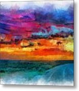 Taos Sunset Iv Watercolor Metal Print