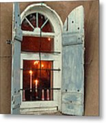 Taos Window With Candlelight Metal Print