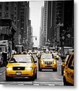 Taxis On 6th Avenue Metal Print