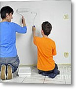 Teamwork - Mother And Child Painting Wall Metal Print by Matthias Hauser