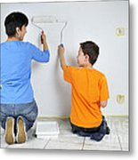 Teamwork - Mother And Son Painting Wall Metal Print
