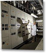 Technician With Air Conditioning Units Metal Print by Tek Image