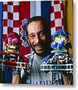 Technician With Lego Footballers At Robocup-98 Metal Print