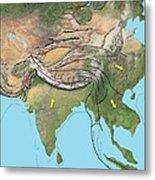 Tectonic Map Of Asia Metal Print