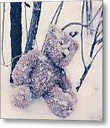 Teddy In Snow Metal Print