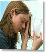 Teenager With Headache Holds Dissolving Painkiller Metal Print