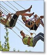 Teenagers On Fairground Ride Metal Print