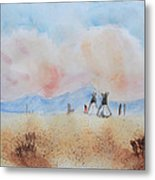 Teepees - Watercolor Metal Print