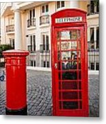Telephone And Post Box Metal Print