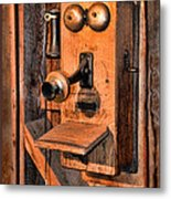 Telephone - Antique Hand Cranked Phone Metal Print