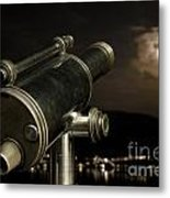 Telescope And Red Moon Metal Print