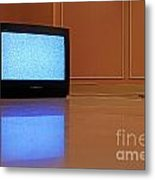 Television Displaying Static Reflected In Floor Metal Print