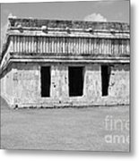 Temple Of The Turtles At Uxmal Mexico Black And White Metal Print