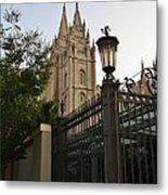 Temple Square Grounds Metal Print by Bruce Bley