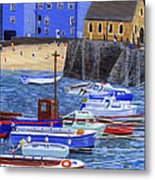 Painting Tenby Harbour With Boats Metal Print