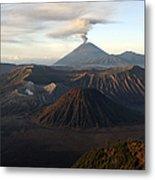 Tengger Caldera With Erupting Mount Metal Print