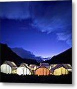 Tents Illuminated In A Valley At Night Metal Print