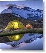 Tents Lit By Flashlight On Cascade Metal Print