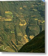 Terraced Fields Above Canyon Draining Metal Print