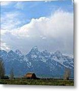 Teton Mountains And Barn Metal Print