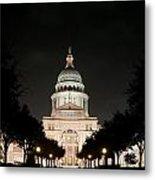 Texas Capitol Building At Night - Horz Metal Print