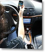 Texting And Driving Metal Print