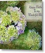 Textured Hydrangeas Birthday Mother Greeting Card Metal Print