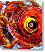 Textured Red Fish Metal Print