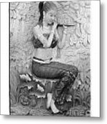 Thai Style Bas-relief Decorated On  Wall  Metal Print