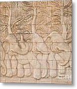 Thai Style Handcraft Of Elephant Metal Print by Phalakon Jaisangat