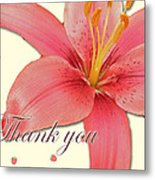 Thank You Card - Pink Lily Metal Print