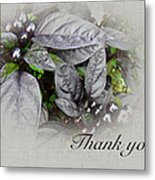 Thank You Card - Silver Leaves And Berries Metal Print