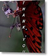Thank You Card - Butterfly Metal Print