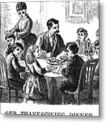 Thanksgiving Dinner, 1873 Metal Print