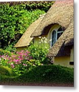 Thatched Cottage With Pink Flowers Metal Print