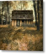 Thatched Roof Cottage In The Woods Metal Print