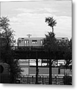 The 7 Line In Black And White Metal Print