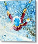 The Aerial Skier - 14 Metal Print by Hanne Lore Koehler