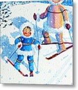 The Aerial Skier - 6 Metal Print by Hanne Lore Koehler