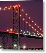 The Ambassador Bridge At Night - Usa To Canada Metal Print by Gordon Dean II