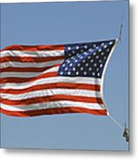 The American Flag Waves At Half-mast Metal Print