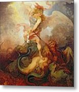 The Angel Binding Satan Metal Print by Philip James de Loutherbourg