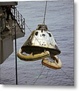 The Apollo 9 Command Module Is Hoisted Metal Print