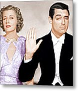 The Awful Truth, From Left Irene Dunne Metal Print by Everett